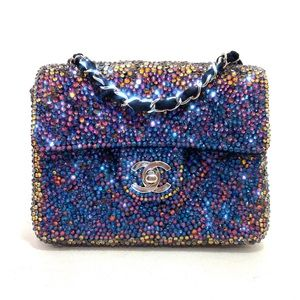 Auth Chanel Square Mini Strass Meridian Blue